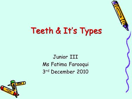 Junior III Ms Fatima Farooqui 3rd December 2010