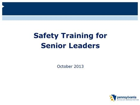 Safety Training for Senior Leaders October 2013