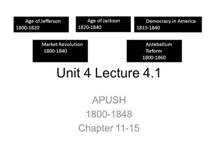 Unit 4 Lecture 4.1 APUSH Chapter Age Age of Jefferson