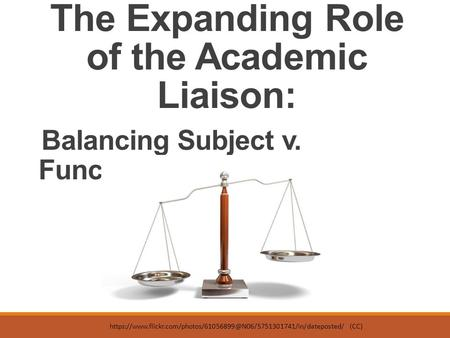 The Expanding Role of the Academic Liaison: Balancing Subject v. Functional Skills