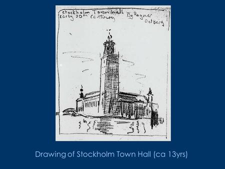 Drawing of Stockholm Town Hall (ca 13yrs). Architecture - Sussex University.
