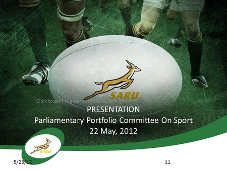 Click to edit Master subtitle style 5/23/12 PRESENTATION Parliamentary Portfolio Committee On Sport 22 May, 2012 11.