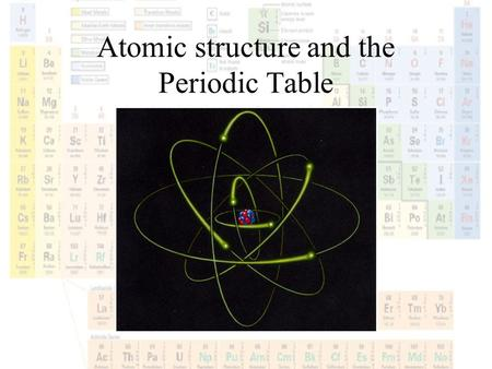 Atomic structure and the Periodic Table. Notes: Write down important vocabulary words as we go through today's Power Point.
