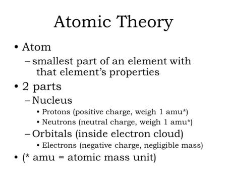 Atomic Theory Atom –smallest part of an element with that element's properties 2 parts –Nucleus Protons (positive charge, weigh 1 amu*) Neutrons (neutral.