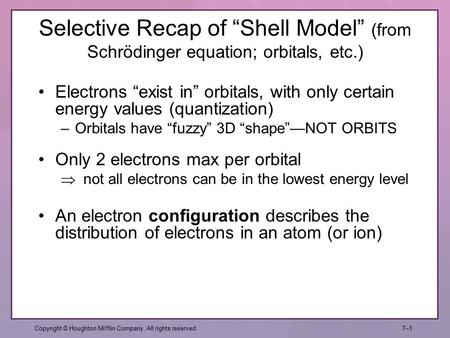 "Selective Recap of ""Shell Model"" (from Schrödinger equation; orbitals, etc.) Copyright © Houghton Mifflin Company. All rights reserved.7–17–1 An electron."
