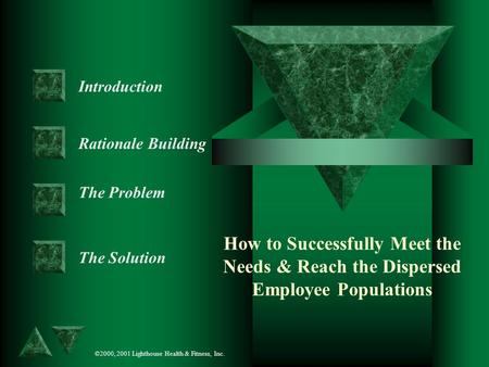 How to Successfully Meet the Needs & Reach the Dispersed Employee Populations Introduction Rationale Building The Problem The Solution ©2000, 2001 Lighthouse.