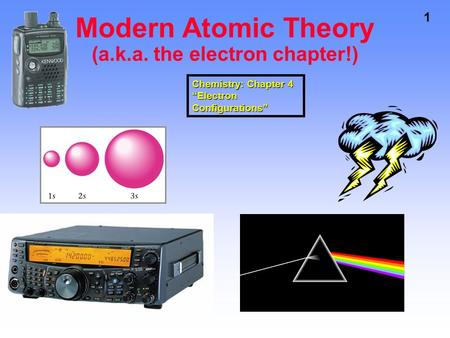 "1 Modern Atomic Theory (a.k.a. the electron chapter!) Chemistry: Chapter 4 ""Electron Configurations"""