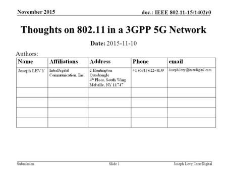 Submission doc.: IEEE 802.11-15/1402r0 November 2015 Joseph Levy, InterDigitalSlide 1 Thoughts on 802.11 in a 3GPP 5G Network Date: 2015-11-10 Authors: