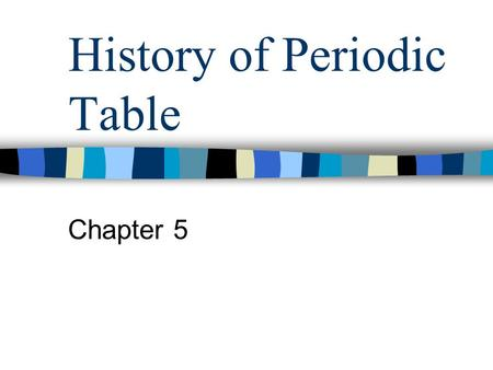 History of Periodic Table Chapter 5. History 1860s – 60 elements discovered –Cannizzaro - agreed on method to measure atomic mass –Search for relationships.