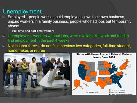 Unemployment  Employed – people work as paid employees, own their own business, unpaid workers in a family business, people who had jobs but temporarily.