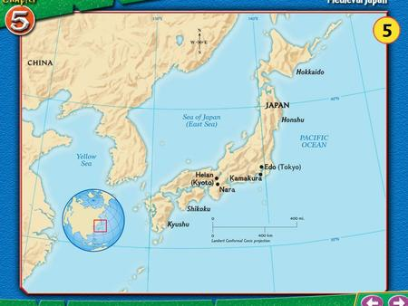 Section 1 Vocabulary Japan Japan – a chain of islands that stretches north to south in the N. Pacific Ocean – has 3,000+ islands 4 largest Japanese.