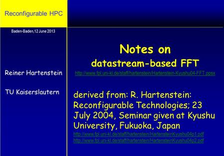 Reconfigurable HPC Notes on datastream-based FFT