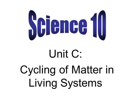 Unit C: Cycling of Matter in Living Systems. Aristotle (384 BC – 322 BC) He was one of the first Greek philosophers who used the Scientific Method of.
