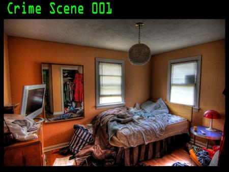Study this crime scene. 1. How many windows are there? 2. How many sources of electrical light are there? 3. What 3 items are on the night stand/end table.