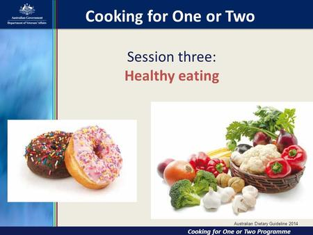 Session three: Healthy eating Cooking for One or Two Cooking for One or Two Cooking for One or Two Programme Australian Dietary Guideline 2014.