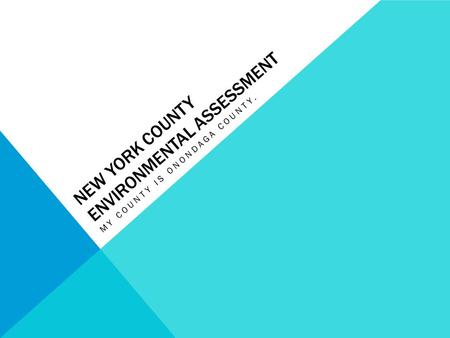NEW YORK COUNTY ENVIRONMENTAL ASSESSMENT MY COUNTY IS ONONDAGA COUNTY.