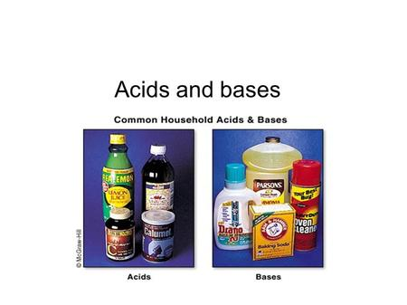Acids and bases. Acids An acid is any compound that increases the number of hydrogen ions when dissolved in water Solution tastes sour Can change the.
