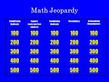 Simplifying Radicals Square roots/perfect squares Combining Radicals Vocabulary Rationalizing Denominators 100 200 300 400 500 Math Jeopardy.