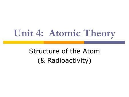 Unit 4: Atomic Theory Structure of the Atom (& Radioactivity)