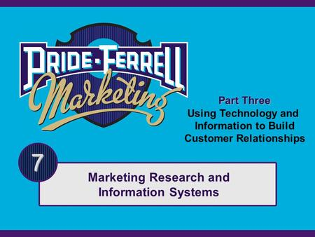 Part Three Using Technology and Information to Build Customer Relationships 7 Marketing Research and Information Systems.