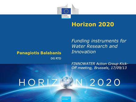 Research and Innovation Research and Innovation Research and Innovation Research and Innovation Horizon 2020 Funding instruments for Water Research and.