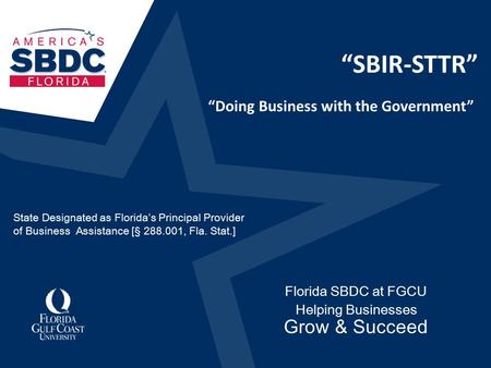 """SBIR-STTR"" Florida SBDC at FGCU Helping Businesses Grow & Succeed ""Doing Business with the Government"" State Designated as Florida's Principal Provider."