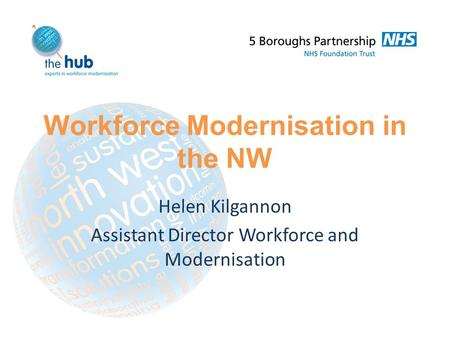 Workforce Modernisation in the NW Helen Kilgannon Assistant Director Workforce and Modernisation.