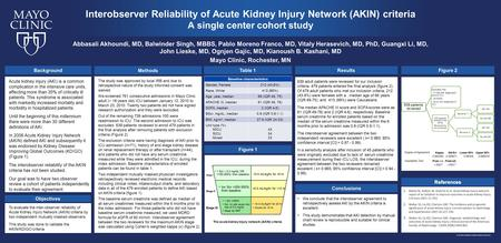 Interobserver Reliability of Acute Kidney Injury Network (AKIN) criteria A single center cohort study Figure 2 The acute kidney injury network (AKIN) criteria.