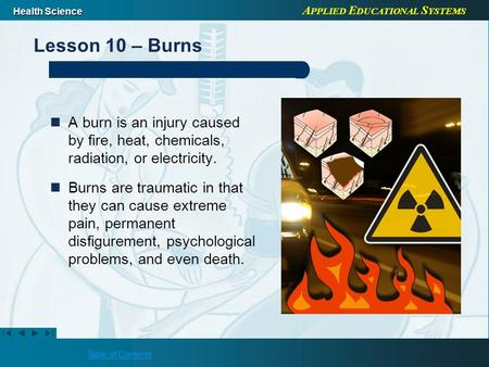 A PPLIED E DUCATIONAL S YSTEMS Health Science Table of Contents Lesson 10 – Burns A burn is an injury caused by fire, heat, chemicals, radiation, or electricity.