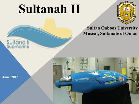 June, 2013 Sultanah II Sultan Qaboos University Muscat, Sultanate of Oman.