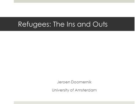 Refugees: The Ins and Outs Jeroen Doomernik University of Amsterdam.