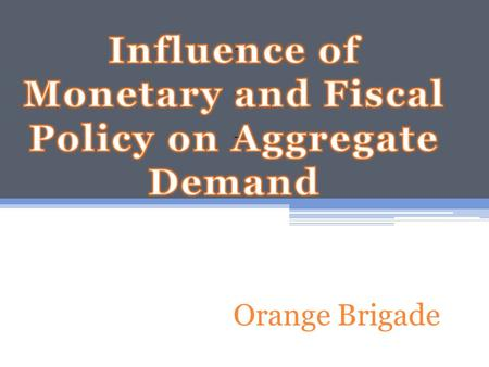 Orange Brigade. Theory of Liquidity Preference- Keynes's Theory that Interest rate adjusts to bring Money Supply and demand into Balance 1. Money Supply-