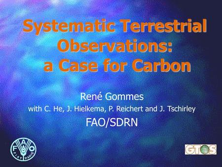Systematic Terrestrial Observations: a Case for Carbon René Gommes with C. He, J. Hielkema, P. Reichert and J. Tschirley FAO/SDRN.
