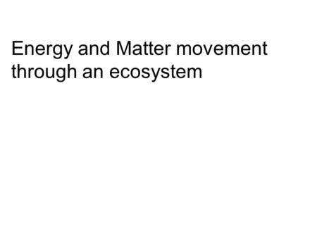 Energy and Matter movement through an ecosystem. Law of conservation of energy states that: