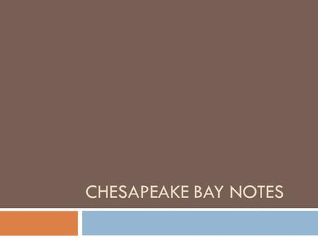 CHESAPEAKE BAY NOTES. Estuary:  Body of water where fresh and salt water mixes  Largest of the 130 estuaries in the United States.