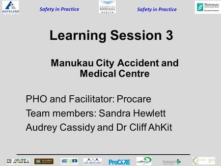 Safety in Practice Learning Session 3 PHO and Facilitator: Procare Team members: Sandra Hewlett Audrey Cassidy and Dr Cliff AhKit Manukau City Accident.