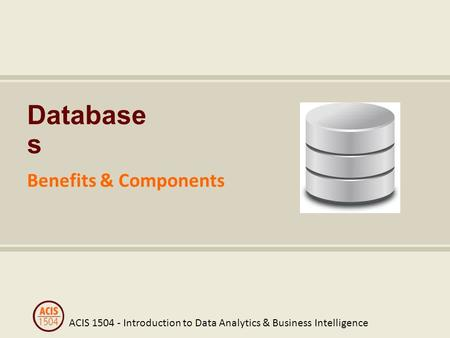 ACIS 1504 - Introduction to Data Analytics & Business Intelligence Database s Benefits & Components.