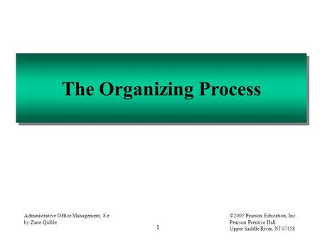 1 Administrative Office Management, 8/e by Zane Quible ©2005 Pearson Education, Inc. Pearson Prentice Hall Upper Saddle River, NJ 07458 The Organizing.