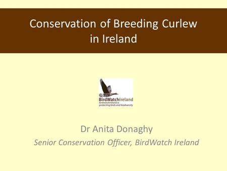 Conservation of Breeding Curlew in Ireland Dr Anita Donaghy Senior Conservation Officer, BirdWatch Ireland.