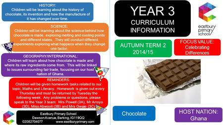YEAR 3 CURRICULUM INFORMATION FOCUS VALUE: Celebrating Differences AUTUMN TERM 2 2014/15 GEOGRAPHY/INTERNATIONAL: Children will learn about how chocolate.
