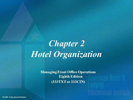 Competencies for Hotel Organization