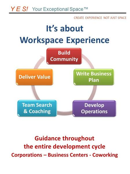 It's about Workspace Experience CREATE EXPERIENCE NOT JUST SPACE Y E S! Your Exceptional Space™ Build Community Write Business Plan Develop Operations.
