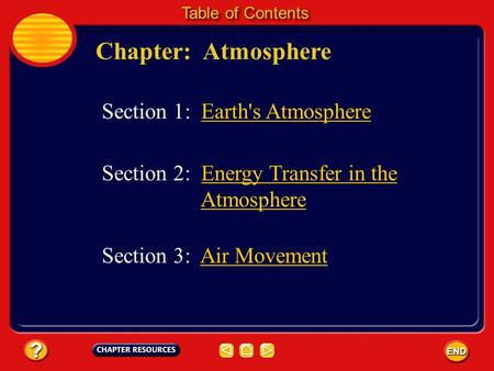 Chapter: Atmosphere Table of Contents Section 3: Air MovementAir Movement Section 1: Earth's Atmosphere Section 2: Energy Transfer in the AtmosphereEnergy.