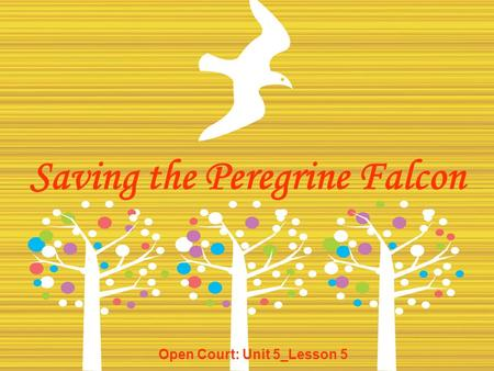 Saving the Peregrine Falcon Open Court: Unit 5_Lesson 5.