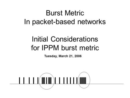 Burst Metric In packet-based networks Initial Considerations for IPPM burst metric Tuesday, March 21, 2006.