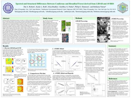 Spectral and Structural Differences Between Coniferous and Broadleaf Forest derived from LIDAR and AVIRIS Dar A. Roberts 1, Keely L. Roth 2, Eliza Bradley.