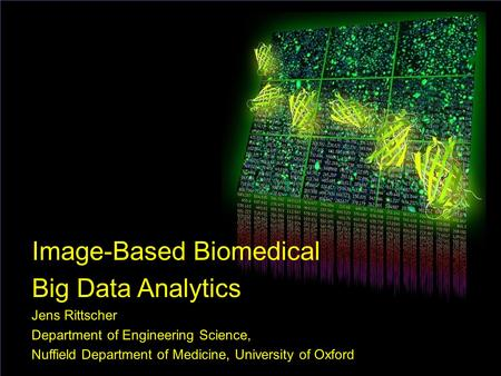 1 Image-Based Biomedical Big Data Analytics Jens Rittscher Department of Engineering Science, Nuffield Department of Medicine, University of Oxford.