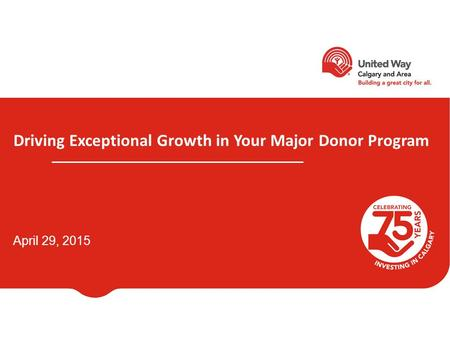 Driving Exceptional Growth in Your Major Donor Program April 29, 2015.