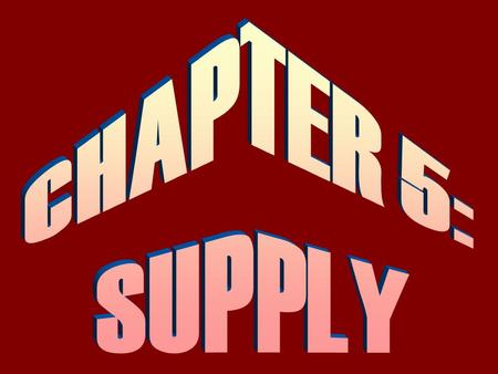 1.Define supply & the Law of Supply. 2.Understand the difference between the supply schedule & supply curve. 3.Specify the reasons for a change in quantity.