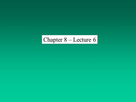 Chapter 8 – Lecture 6. Hypothesis Question Initial Idea (0ften Vague) Initial ObservationsSearch Existing Lit. Statement of the problem Operational definition.
